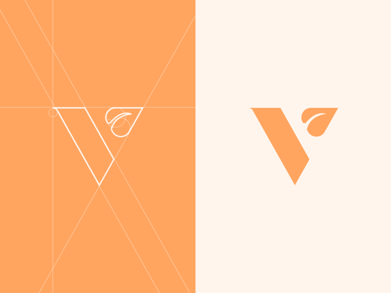 Vegan logo design. restaurant plant v logo v minimalist logo logodesigner logo identitydesign leaf vegan colors branding grid layout