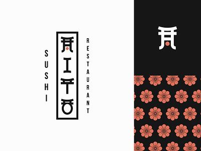 Hito - sushi restaurant logo design. type design logodesigner japanese food branding restaurant gate japanese pattern cherryblossom asian food sushi