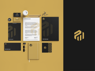 Physicum - Branding Design smart logo sports logo p logo hexagon logodesigner logomark stationery brand identity brand exploration branding