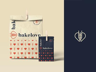 Bakery branding design food color logomark logodesigner identity branding packaging wheat heart love bakery
