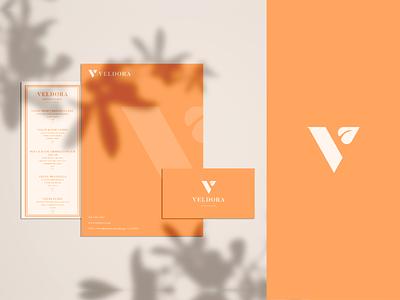Brand & Identity design for Veldora logomark v letter v smart logo restaurant brand identity branding identity logodesigner plant leaf colour vegan logo v logo vegan