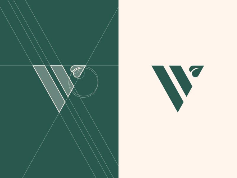 Vegan restaurant logo design v logo identity minimalist logo logodesigner green logogrid grid layout leaf vegan