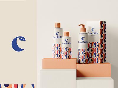 CurlSilk - packaging design product page packagingdesign logo branding hair salon haircare geometric pattern c logo leaf package packaging hair