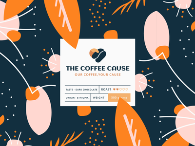 The Coffee Cause - Branding logo coffee heart hand bean pattern branding icon