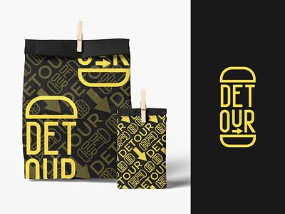 Detour - fast food restaurant branding branding food logodesign logo brand identity packaging colour pattern burger logo restaurant branding burger restaurant fast food