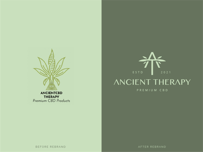 Ancient Therapy - Logo redesign ecommerce wellness leaves identity green branding rebrand redesign cannabis organic natural plant leaf cbd hemp