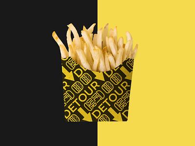 Food restaurant branding burger apron branding pattern logo food packaging fries restaurant