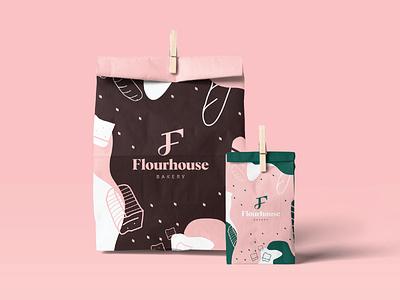 Flourhouse - Bakery Branding label package pink bread symbol branding logodesigner food bakery packaging color food branding logo f logo f