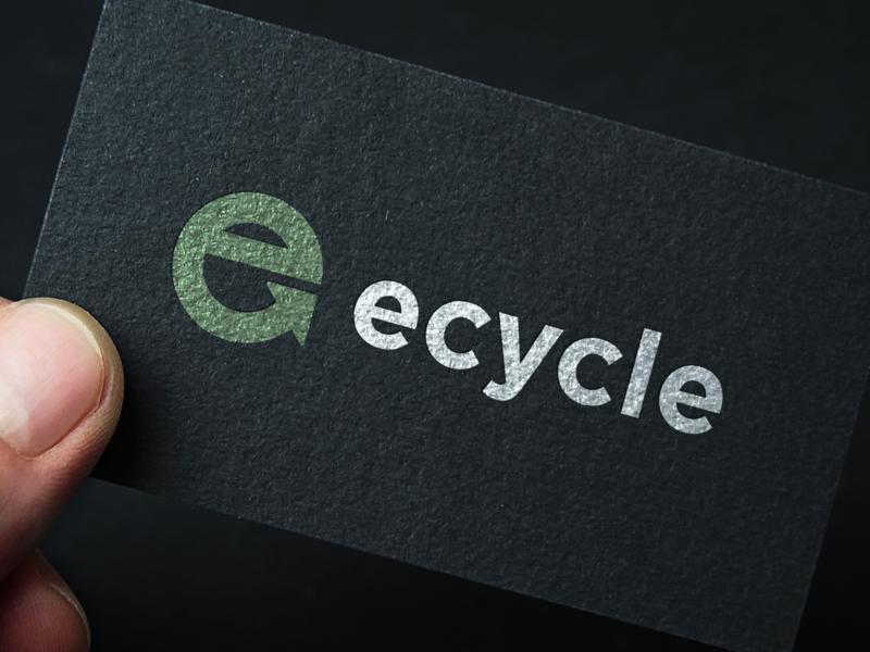 Ecycle  - Logo business card logotypedesign recycle logo identity monogram design smartlogo recycling minimalist logo logotype designer mark symbol icon embossed texture mockup business card design business card e logo