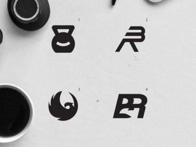 Fitness studio logo sports fitness negative space black and white bird phoenix logo r logo b logo smile kettle bell