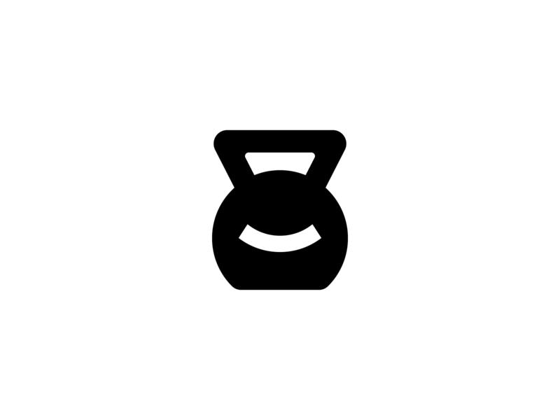 Smile kettlebell black and white smile logo negative space logo kettle bell