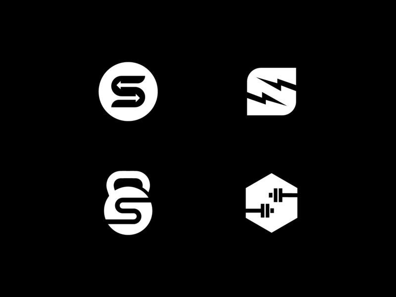 Gym & Fitness logo design concepts. kettle bell gym logo lighting bolt bolt weights arrows black and white negative space s logo logo