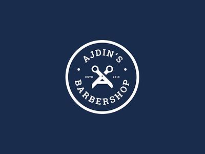 Badge designs for a barbershop identity a letter logo scissors barbershop barber badge navy blue