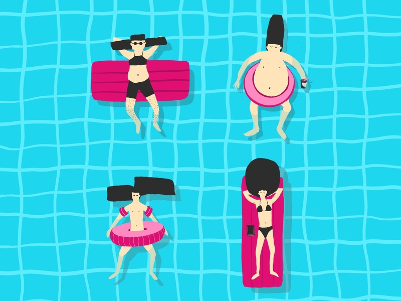 Crazy haircuts on floaties sea haircut floaties hot summer design characters illustration