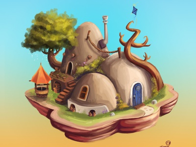 House Desert character digital animal adobe paint design cute adobephotoshop game art game house illustration house
