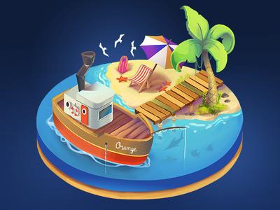 Beach and boat isometrics