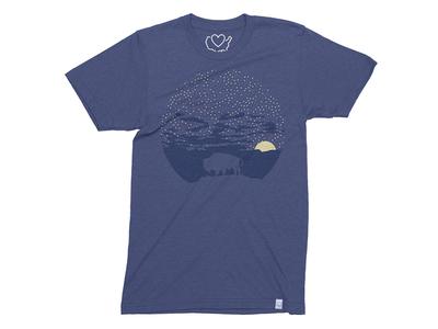 Starry Night  negative space outline blue buffalo sunflower brian white t-shirt shirt apparel 50 states kansas