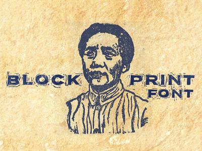 Blockprint Font for sale goods block print printed inked grunge sans-serif print font