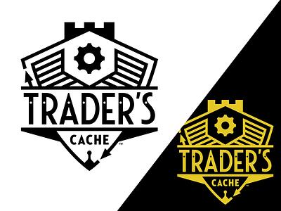 Traders Cache vector identity restaurant steampunk retro gear branding logos shield badge brand logo