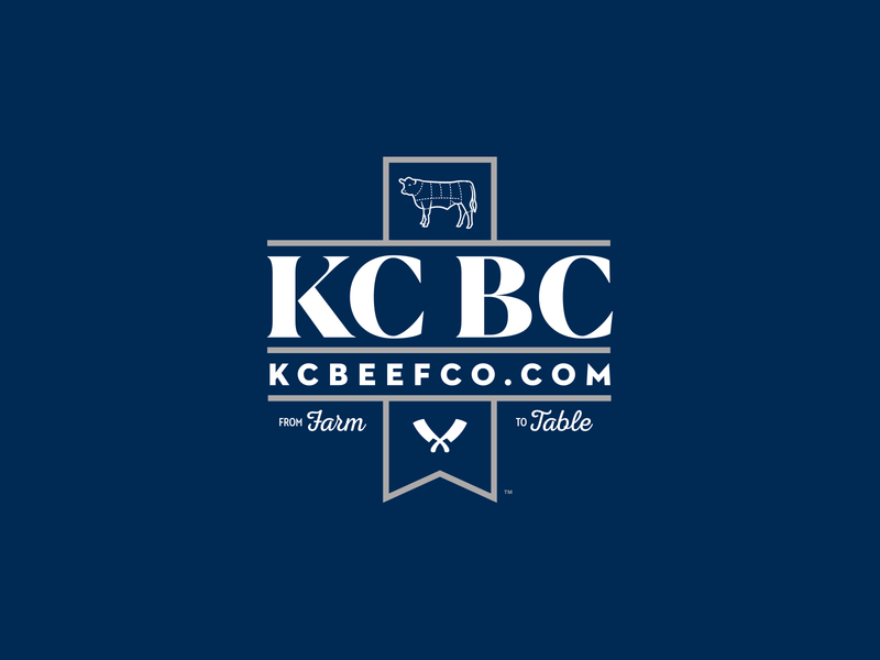 Kansas City Beef Co. food cow logos ribbon badge identity design brand design logo design branding logo