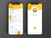 Health care app tracking screens