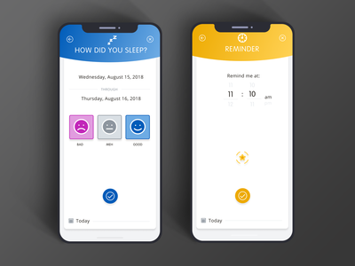 Sleep Tracking and Reminders Screen application tracking health healthcare reminder iphone ios app mobile screen sleep uidesign ui design ui ux