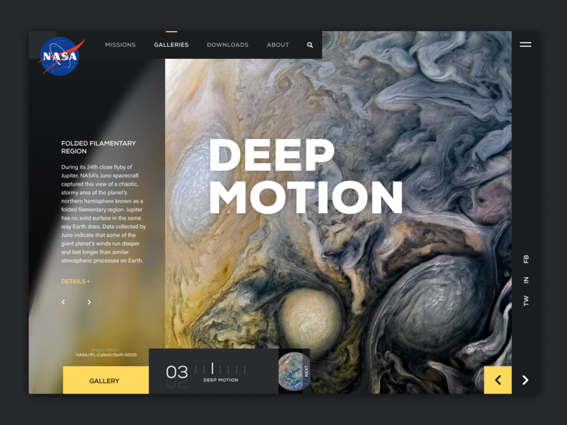 Deep Motion Landing Page user interface design userinterface juno jupiter planet space slideshow gallery uidesign uiux ui landing page ui landing page