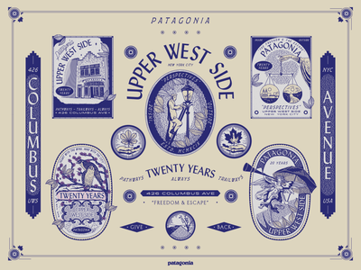 Patagonia Upper West Side Anniversary nevada perspectives environment sustainability tear sheet badge nyc falcons lady nature blue lettering patagonia brooklyn design laxalt linework new york city illustraion