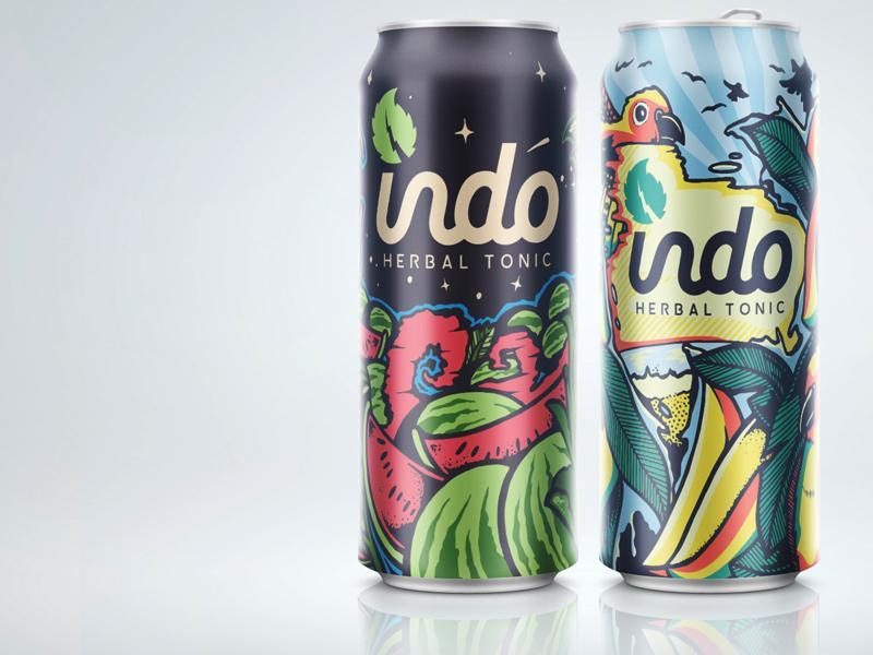Indo Herbal Tonic herbal tea indo packaging tallboy tallcan 24oz illustration conures birds watermelon mango