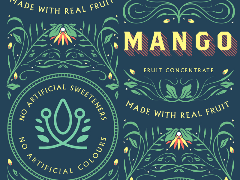 Mango Label pattern jungle tree lettering tropical fruit concentrate mango filigree
