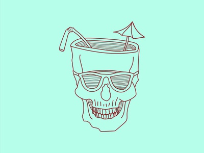 Currently umbrella linework monday drinks beer booze cup skull