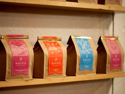 Magpie Coffee Roasters colombian tanzanian ethiopian linework magpie nevada reno packaging coffee