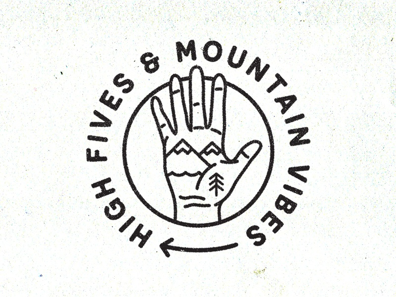 High Fives & Mountain Vibes new york city brooklyn reno tahoe adventure explore nevada sierra badge illustration vibes mountain