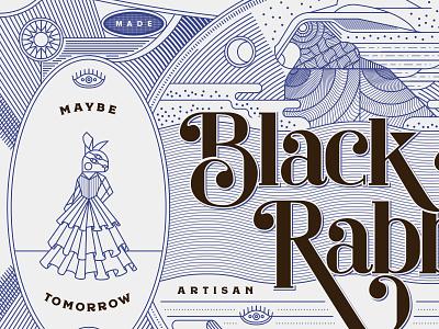 Black Rabbit Mead Co nyc nevada tahoe brooklyn reno rabbit wine beer mead illustration linework packaging