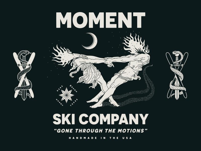 Moment Skis illustration branding nevada reno nyc brooklyn linework skiing snake snow ski moment