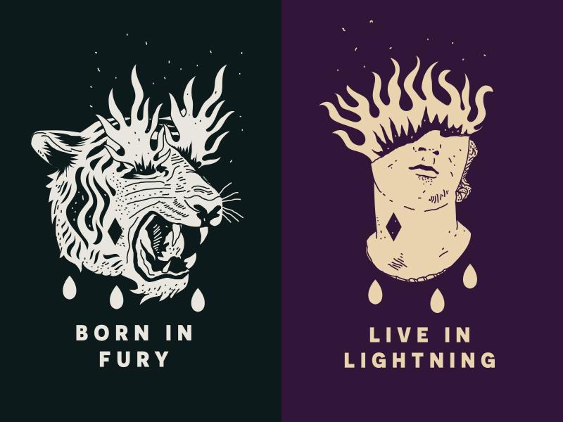 Born in Fury 🔥 Live in Lightning illustration branding moment ski snow snake tiger linework brooklyn nyc reno nevada