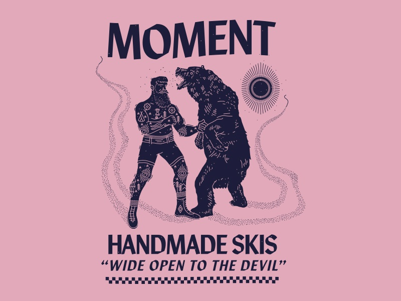 Moment - Wide Open to the Devil new york city nyc brooklyn nevada reno branding illustration boxing bear handmade skis skiing