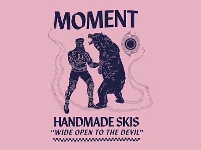 Moment - Wide Open to the Devil new york city nyc brooklyn nevada reno branding illustration boxing bear handmade skis skiing