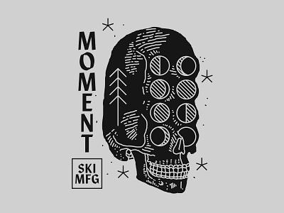 Moment Skis - Moonskull skiing skis illustration new york city nyc brooklyn nevada reno moment moons skull moon