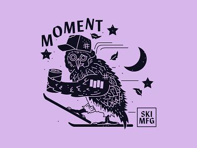 Moment Skis - Night Owls branding new york city nyc brooklyn nevada reno illustration skiing night owl skis moment