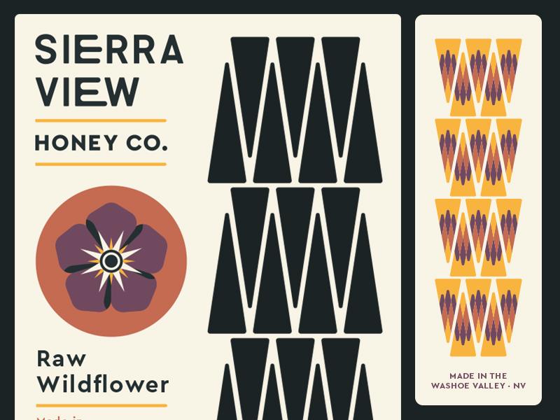 Sierra View Honey Labels wildflower lettering clean organic sierra packaging bees new york city brooklyn nevada reno honey