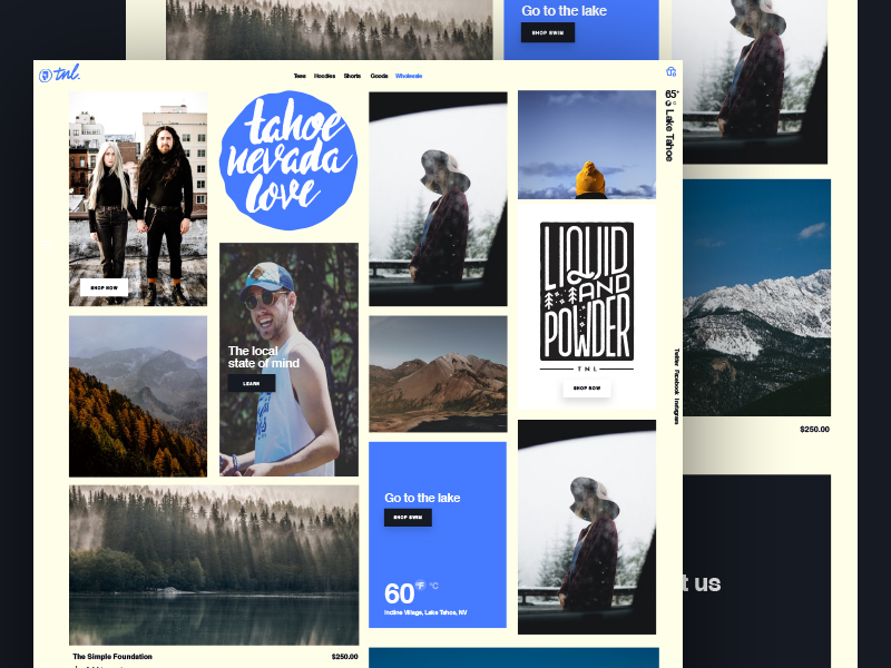 Tahoe Nevada Love Website nyc typography branding script shopify ecommerce ui tahoe lettering new york city brooklyn nevada reno