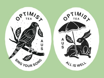 Sing your Song / All is Well parrot rabbit optimist australia tea branding new york city illustration brooklyn nevada reno