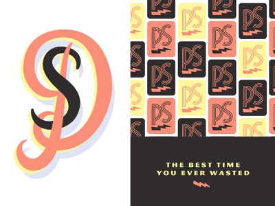 Best Time You Ever Wasted cocktails quarters barcade arcade nyc identity typography branding new york city linework brooklyn nevada reno