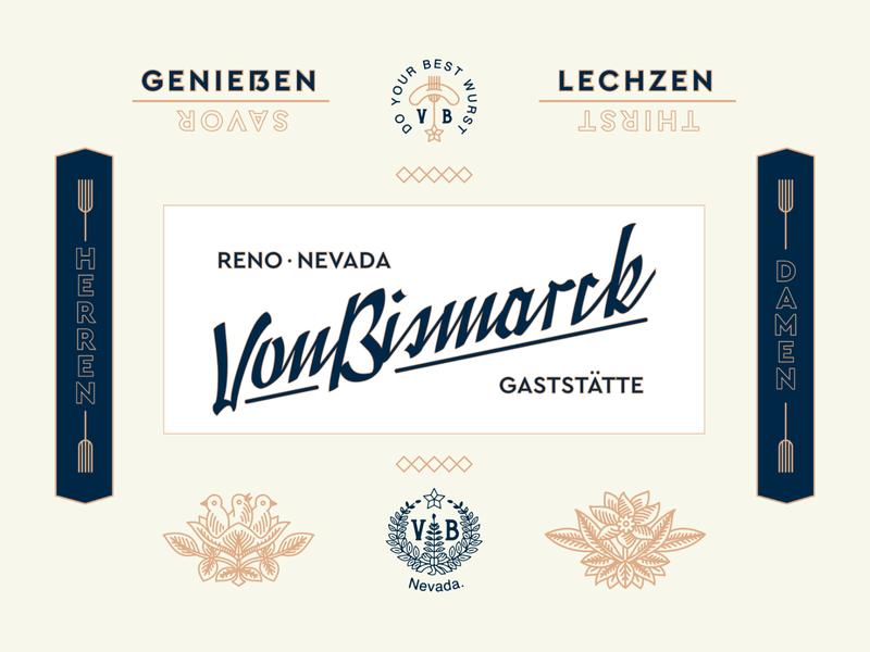 Von Bismarck thirst savor gastatte restaurant new york city nyc brooklyn illustration identity branding typography blackletter prussian nevada reno