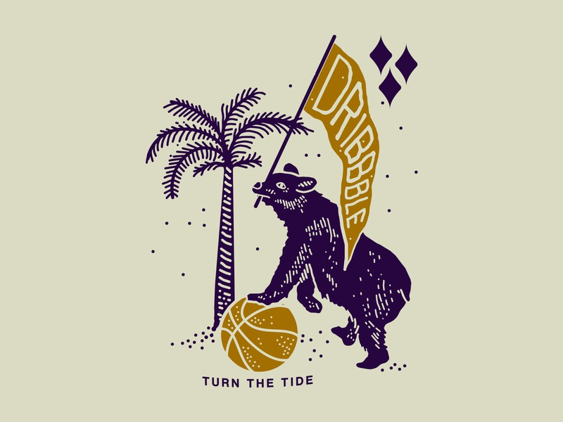 Dribbbble: Turn the Tide laxalt palm nevada reno nyc brooklyn illustration linework tide turn basketball bear dribbble