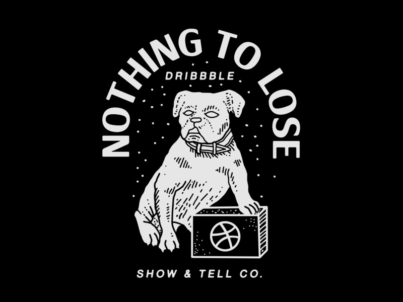Dribbble: Nothing to Lose dribbble ball dribbble claws box nyc brooklyn nevada reno illustration linework show and tell basketball dog