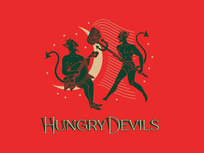Hungry Devils - Moondance branding hand lettering identity pitchfork food truck nyc new york city linework illustration typography brooklyn nevada reno