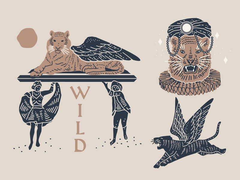 9 Lives laxalt nyc packaging identity branding illustration linework flying wings tiger wild lion cat