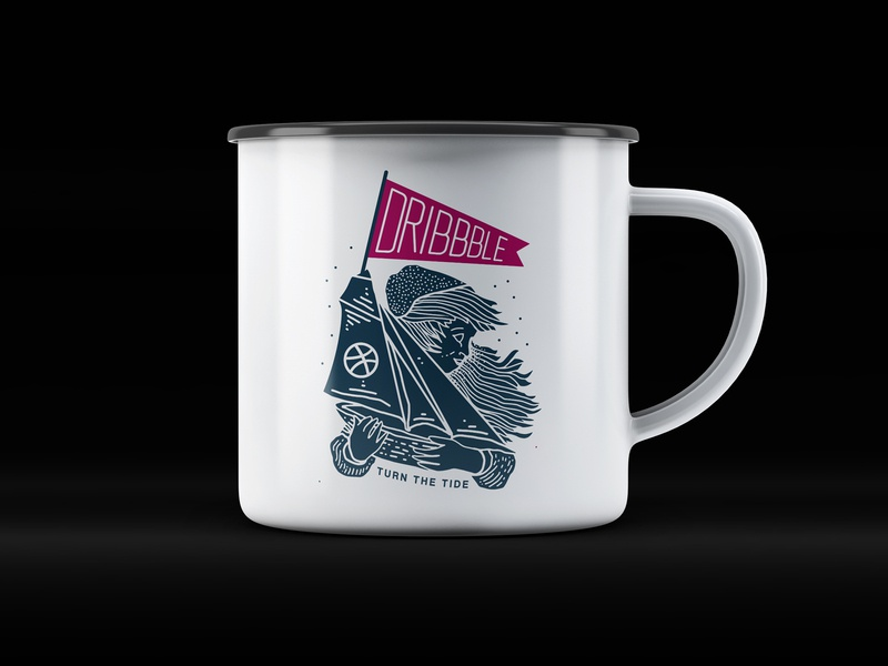 Dribbble: Turn the Tide Meet Up Mug laxalt branding packaging illustration linework reno nevada nyc brooklyn tide turn show and tell woman girl flag sail ship boat basketball dribbble